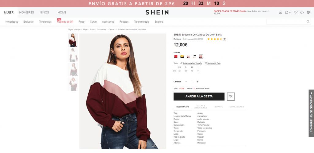comprando ropa en shein