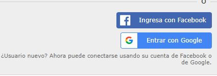 registrarse con google o facebook