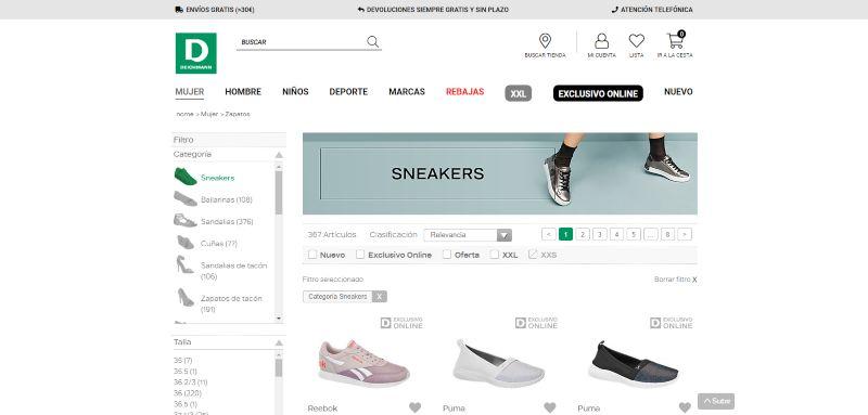 comprar zapatillas por internet baratas en deichman